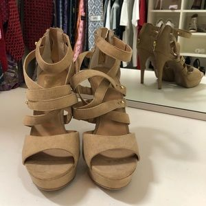Shoes - Tan Sueded Strappy Platform Sandals 7.5